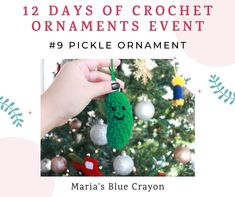 Quick and easy crochet pickle ornament for the tree! Start a tradition with this little pickle - first one to spot it on the tree Christmas morning gets a reward or extra gift! Crochet Christmas Trees, Crochet Ornaments, Holiday Crochet, Easy Crochet, Free Crochet, Christmas Pickle Ornament, Blue Crayon, Yarn Organization, Christmas Items