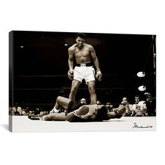 "eWallArt 26"" x 18"" Muhammad Ali Vs. Sonny Liston, 1965 by Unknown Artist Canvas Print. The quintessential Ali print. 1 piece and 3 piece options available."