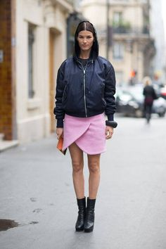 Hanneli Mustaparta in Carven skirt - Paris Fashion Week Spring Street Style.  (2013)