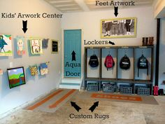 great idea for a mudroom right in your garage. Why even step foot in the house with those muddy boots and backpack! From the art work wall to the actually shelving this garage mudroom is a home run! PLUS - LOVE the aqua door! Garage House, Diy Garage, Garage Lockers, Garage Mudrooms, Dream Garage, Garage Workbench, Garage Signs, Mud Room In Garage, Garage Entryway