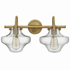 Modern Clear Schoolhouse Globe Vanity - 2 Light - A modern twist on the classic schoolhouse globe, Antique Brass Brass Bathroom, Bathroom Light Fixtures, Bathroom Vanity Lighting, Hall Bathroom, Master Bathroom, Bathrooms, Library Lighting, Interior Lighting, Home Lighting