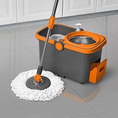 Casabella Spin Cycle Mop with Bucket - Graphite/Orange 85333