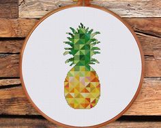 Geometric Pineapple cross stitch pattern| Modern pineapple counted cross stitch chart| Kitchen cross stitch pattern pdf| Fruit cross stitch