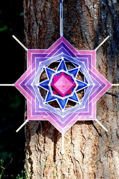 This listing is for a made to order 24 inch yarn mandala Gods Eye, Cow Art, Dot Painting, Xmas Ornaments, Mandala Art, String Art, Hama Beads, Dream Catcher, Projects To Try