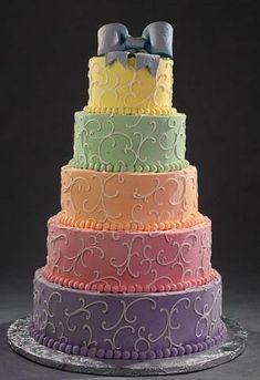 Rainbow wedding theme Inspiration needed please, Kept Elegant :  wedding bouquet bridesmaid cake dress dresses ideas inspiration rainbow shoes theme wedding Rainbow Wedding Cake