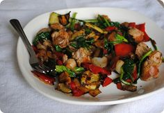 eggless breakfast idea - sausage and summer vegetables!!
