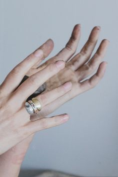Ursa Major by Kate Jones Collection No. 5. Inlay ring flanked by gold and silver Oval Signets