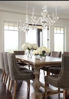 French Style | 15 Classy Home Decor Ideas For Dining Room I woould use different lighting but I love the table and chairs.