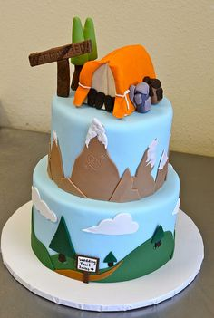Hiking and camping wedding cake Hiking and camping wedding cake 40th Cake, 40th Birthday Cakes, Camping Birthday Cake, Camping Theme Cakes, Themed Wedding Cakes, Themed Cakes, Fondant Cakes, Cupcake Cakes, Camper Cakes