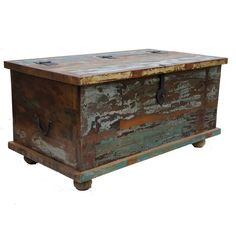 Borough Wharf Big heavy shabby elegance old painted teak chest coffee table, handmade with heavy black ironwork, shabby elegance look works well both in a traditional and contemporary interior piece of furniture. Large Coffee Tables, Rustic Coffee Tables, Shabby Look, Table Storage, Coffee Table With Storage, Reclaimed Wood Coffee Table, Blanket Box, Coffee Table Wayfair, Wooden Chest