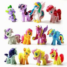 12pcs/lot  Cute Rainbow horse Unicorn Poni Doll 3-5cm PVC Action   Figure Collection Model Toys For Children Birthday Gift