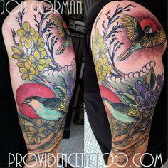 by jon gorman at providence tattoo  #providencetattoo #jongorman #flowers #birds #tattoo #flowertattoo #birdtattoo #colortattoo #tattooideas #tattooartists #sleeve