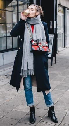 19 casual winter work outfits you should try—cozy gray scarf, navy wool coat, cuffed straight leg jeans, boots