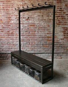 Industrial Coat Rack Bench
