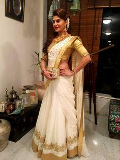 Buy online milky white festive wear saree Online shopping off white festival wear sari Set Saree, Half Saree Lehenga, Saree Look, Saree Dress, Bridal Lehenga, Anarkali, Kasavu Saree, Saree Wedding, Indian Wedding Sarees