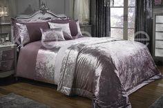 Crushed Velvet  Duvet Quilt Cover Bedding Set Throw Pillow Cushion Grey Silver