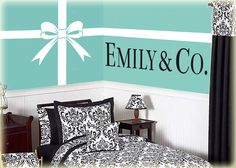 "Tiffany and Co. vinyl wall art decal Bow with Ribbon Lines and Personalized Name ""& Co."" vinyl wall lettering stickers from PersnicketyWallVinyl on Etsy. Vinyl Wall Lettering, Bedroom Design, Tiffany Blue Bedroom, Bedroom Accessories, Tiffany Blue Rooms, Tiffany Bedroom, Bedroom Decor, Home Decor, Blue Rooms"