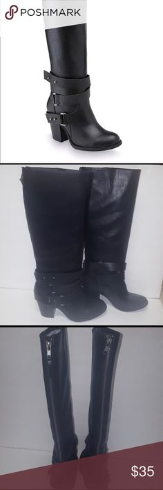 """Bongo tall faux leather moto boots New without tags. Bought here and they didn't fit me. Beautiful boots! Approximately 3"""" heal, zips up the back of calf. BONGO Shoes Combat & Moto Boots"""