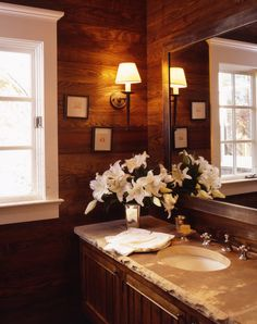 lake cabin powder room by mcalpine tankersley - like the rough cut on the countertop