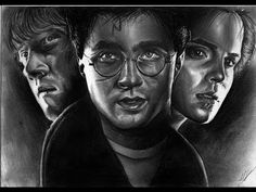 My Last Drawing Harry Potter Cast . I inspired it from the movies and especialy from the last one ( Harry Potter and the deathly Hallows Part 2 ) . The drawi. Emma Watson Rupert Grint, Daniel Radcliffe Emma Watson, First Harry Potter, Harry Potter Cast, Deathly Hallows Part 2, Pencil Drawings, It Cast, Videos, Youtube