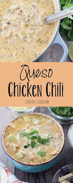 Delicious Queso White Bean Chicken Chili FIVE STARS - I did my own spices and made it vegetarian using quorn + veggie stock. Also added about a cup of sour cream at the end. Chili Recipes, Mexican Food Recipes, Crockpot Recipes, Soup Recipes, Chicken Recipes, Dinner Recipes, Cooking Recipes, Queso Soup Recipe, Soups