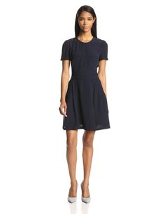 Hannah Crepe Short-Sleeve Fit-and-Flare Dress by French Connection
