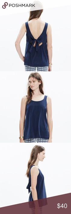 Madewell silk lookout bow-back top Navy in XXS NWT Completely brand new Madewell silk lookout bow-back top in deep Navy, size XXS. Tags are still attached. ‼️ I do NOT do trades ❌🔄 please make offers through the offer button. Also listed on ♏️ Madewell Tops Tank Tops