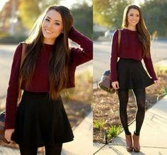 wine sweater, black skirt, black leggings, tan chelsea boots