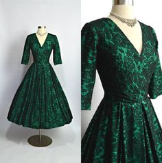RESERVED 1950's Vintage Emerald Green and by RubyFayesVintage