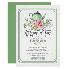 Watercolor Bridal Shower Spot of Tea Shower Invite - modern gifts cyo gift ideas personalize