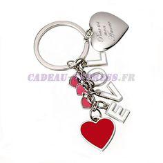 Porte clés cascade de coeurs personnalisé