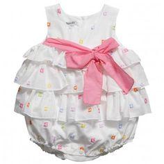 Baby Graziella Baby Girls White Cotton Ruffle Sunsuit at Childrensalon.com