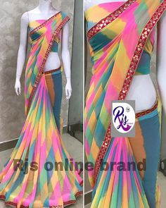 Discover thousands of images about 1299 free ship. Sold out anytime. * georgette sarees with beautiful heavy pure feeling borders* *With running blouse* Ready… Brocade Blouse Designs, Saree Tassels Designs, Cotton Saree Designs, Saree Blouse Patterns, Saree Blouse Designs, New Designer Dresses, Designer Sarees, Rajasthani Dress, Bridesmaid Saree