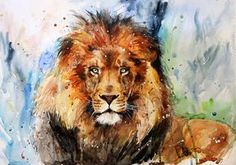 Brown lion abstract art print by Gallerist Watercolor Lion, Watercolor Animals, Watercolor Paintings, Watercolor Images, Lion Painting, Painting & Drawing, Animal Paintings, Animal Drawings, Lion Art