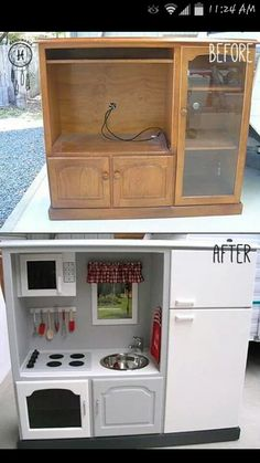An old piece of furniture with a new paint job could be the perfect thing for your little girl. Found on Mom's Got Ink