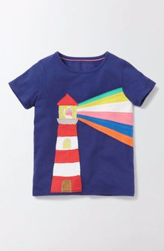 Main Image - Mini Boden Big Appliqué Tee (Toddler Girls, Little Girls & Big Girls)