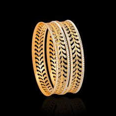 The CNC gold bangles is a collection of bold cut-out & hole designs. Shop from our CNC gold bangles online & add that 'prestige' to your look & personality. Bridal Jewelry Vintage, Gold Wedding Jewelry, Gold Jewelry Simple, Stylish Jewelry, Gold Ring Designs, Gold Bangles Design, Jewellery Designs, Plain Gold Bangles, Gold Bracelets