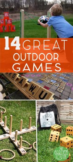 Great Outdoor Games Yard games can provide hours of fun for family reunions, birthday parties, barbecues or just an slow evening at home.Yard games can provide hours of fun for family reunions, birthday parties, barbecues or just an slow evening at home. Backyard For Kids, Backyard Bbq, Wedding Backyard, Outdoor Play, Outdoor Toys, Outdoor Summer Games, Outdoor Yard Games, Party Outdoor, Outdoor Projects