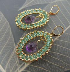 Apatite Amethyst earring. $85.00, via Etsy.