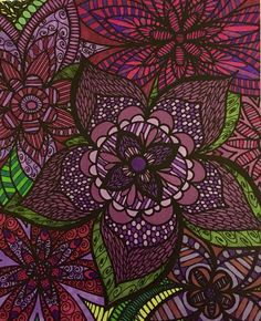 From ColorIt Adult Coloring Book - Colorful Flowers Volume I