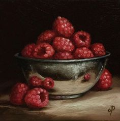 Raspberry Bowl, J Palmer Daily painting Original oil still life Art