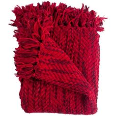 Woven Workz Bella Throw - Cherry (69 CAD) ❤ liked on Polyvore featuring home, bed & bath, bedding, blankets, cherry, fringe blanket e fringed throws
