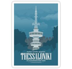 A vintage style illustration depicting the OTE Telecommunications Tower in Thessaloniki, Greece. Poster Retro, Christmas In Europe, Large Canvas Wall Art, Cheap Paintings, Wall Art Pictures, Wall Art Quotes, Vintage Travel Posters, Illustrations, Poster Wall