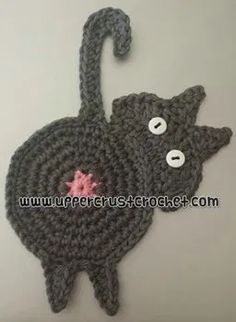 Crochet Coaster Pattern, Crochet Cat Pattern, Crochet Motif, Crochet Stitches, Free Pattern, Doilies Crochet, Thread Crochet, Crochet Gifts, Cute Crochet