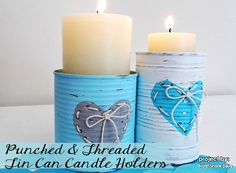 How to make these adorable punched and threaded candle holders from old cans.