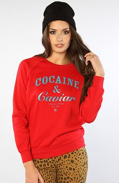 The Cocaine & Caviar Crewneck Sweatshirt in Red by Crooks and Castles