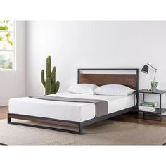 Canada's Best Mattress Ironline Metal and Wood Platform Bed with Headboard/Box Spring Optional/Wood Slat Support, Full Wood Headboard, Headboard And Footboard, Headboards For Beds, Wood Platform Bed, Upholstered Platform Bed, Steel Bed, Best Mattress, Mattress Springs, Bed Reviews