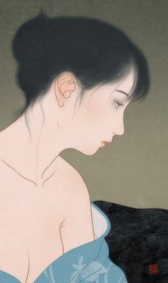 Narumi, an art print by Sai Tamiya Japanese Art Prints, Japanese Art Modern, Japanese Drawings, Traditional Japanese Art, Japanese Artwork, Japanese Painting, Watercolor Art Face, Retro Illustration, Korean Art