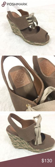 """Tory Burch espadrille wedges Tory burch wedges in great condition. Slight fraying in the wedge- as shown in pic. Not very noticeable but I want the be thorough in mentioning any flaws. Heel measures approximately 5"""". Tory Burch Shoes Wedges"""