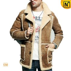 Rancher Shearling Winter Coat CW878127 Classic rancher shearling winter coat for men on sale, vintage ranch style men's shearling sheepskin coat made from genuine fur lining and suede sheep leather exterior!